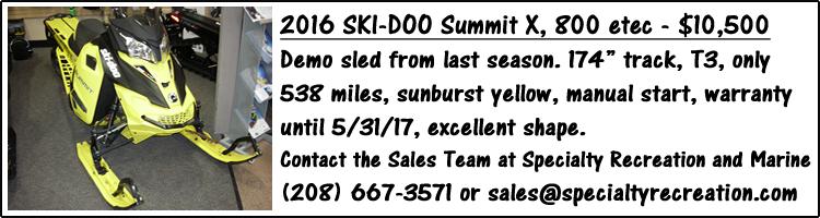 2016 Ski Doo Summit X 800 etec for sale - yellow